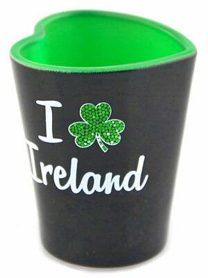 Black Irish Heart Shaped Shot Glass With I Shamrock Ireland Design • 3.56£