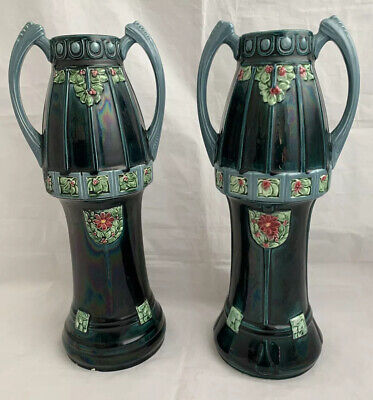 Pair Of Art Nouveau Majolica Tall 2 Handled Vases • 50£