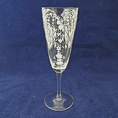 Beautiful Hand Etched Painted Champagne Flute Glass Signed Audley 1956 Crystal • 15£