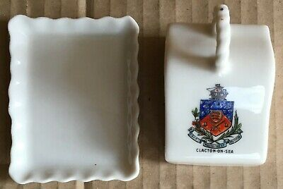 GEMMA CZECHOSLOVAKIA ~~ Crested China Miniature Cheese Dish ~~ CLACTON ON SEA  • 8.99£