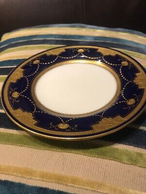 Minton Cobalt Blue And Gold Plate Encrusted Gilded Garland Swags  - 15.5 Cm • 20£