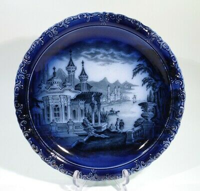 Rare Decorative Victorian Antique Flow Blue Transfer Printed Plate C1880-1900. • 19.99£