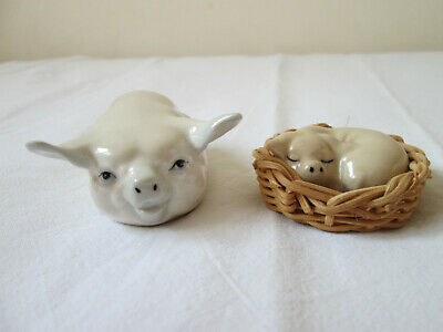 Vintage Szeiler Miniature Sleeping Pig & Laying Pig - Fantastic Condition • 16£