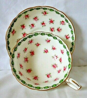 Antique Hammersley Gilded Cup & Saucer, Pink Rosebuds, Green Leaves, Dated C1919 • 12.99£
