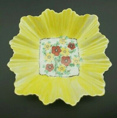 Vintage Art Deco Royal Sutherland China Pottery Bright Yellow Floral Design Dish • 19.99£