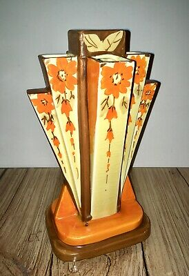 Myott Son & Co Art Deco Pyramid Vase Floral Design • 99.99£