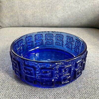 Mid Century Riihimaki Taalari Blue Glass Greek Key Bowl Tamara Aladin • 30£