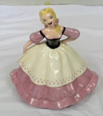 Vintage Pottery Fairy Tail Pottery Girl Figurine, Dressed In Pink & White Dress • 8£