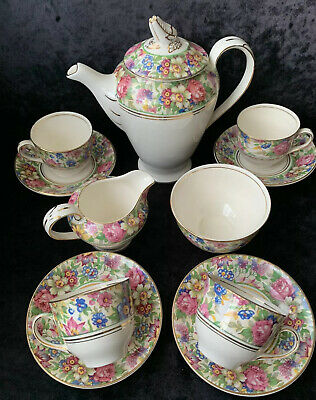 Vintage Pallisy Pottery Chinz Coffee Set • 30£