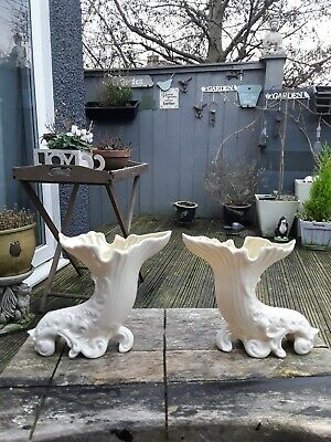 Vintage Pair Of Belleek Irish Vases • 15£