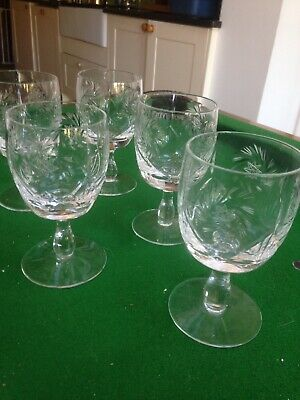 5 Cut Glass Wine Glasses • 15£