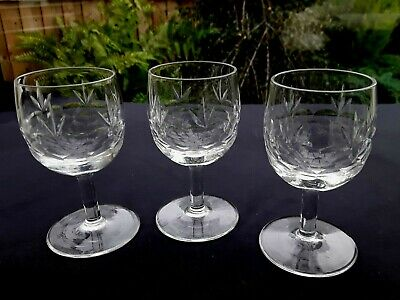 3 Exceptional Port Dessert Wine Glasses Vintage Stourbrdge Style Cut • 12.75£