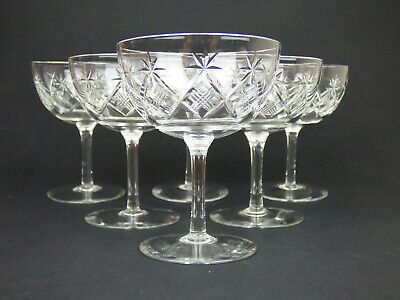 Webb Set Of 6 Cut Crystal Champagne Coupes England Glass Signed 50s 60s • 69.99£