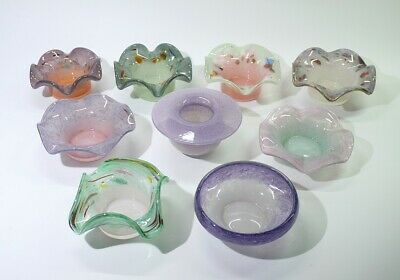 Collection Of Vintage Colourful Scottish Vasart Glass Trinket Dishes And Posies. • 89.99£