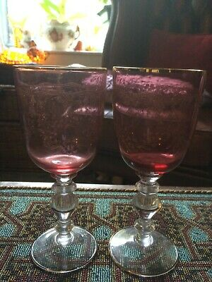Pair Antique Ruby Red Cranberry Needle Engraved Gilded Glasses Goblets • 20£