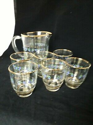 Vintage Glass Water Jug+6tumblers  40/50s Floral Decoration Pirelli England(9b) • 17.99£