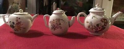 """V & A Museum Small Teapots X 3 FURSTENBERG ( 3 3/4"""" H) ; BOW(5"""" H);MENNECY(4"""" H) • 25£"""