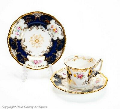 Antique Coalport China Blue Batwing Coffee Cup, Saucer & Side Plate Trio • 79.99£