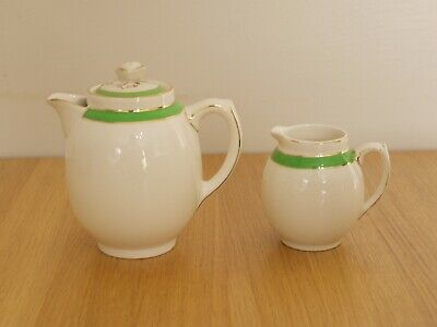 Miniature Teapot 11.5cm & Jug 8cm  Queens Green Solian Ware  Soho Pottery   • 20£