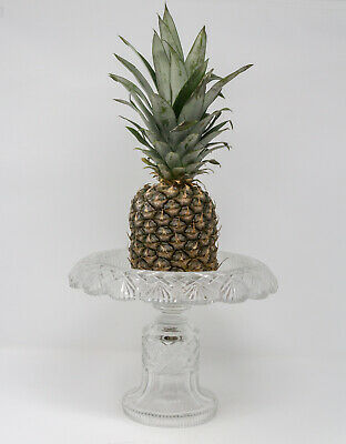 Antique Irish Glass Pedestal Centrepiece/ Pineapple Stand W/ Everted Rim C1820 • 280£