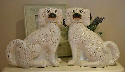 Pair Of White Antique Wally Dogs With Gold Highlights  (refY17) • 35£