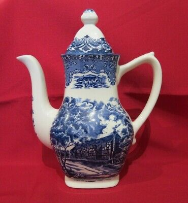 Grindley English Country Inns Blue & White Coffee Pot - The Talbot - VGC • 9£