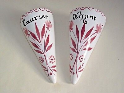 Pair Of Vintage French Decorative Ceramic Herb Wall Pockets Laurier & Thym 948 • 22.99£