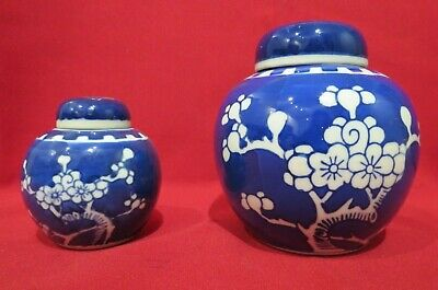Blue & White Pottery - Pair Of Floral Lidded Round Jars • 7.50£