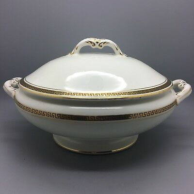 Maddock Royal Vitreous Vegetable Lidded Bowl Tureen With Greek Key Pattern Gold • 39.95£