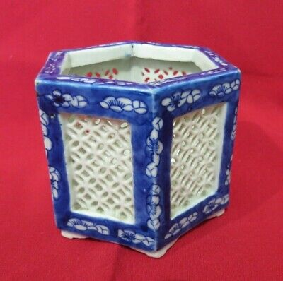 Blue & White Pottery - Hexagonal, Floral Pot • 6.50£