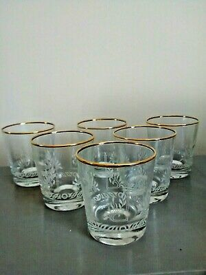 Set Of 6 Elegant Etched Gold Rimmed Whisky Gin & Tonic Tumblers • 25.99£