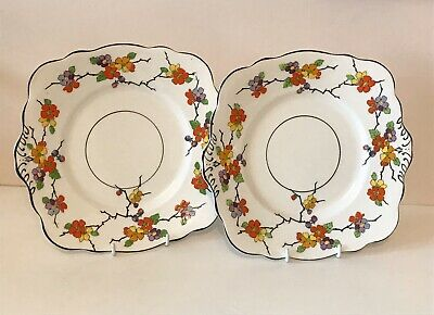Pair Of Foley China Square Sandwich Plates - Hand Painted Flowers - Pattern 593 • 15£