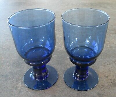 Two Cobalt Blue Stemware Glasses / Water Goblets 14cms Tall • 5£