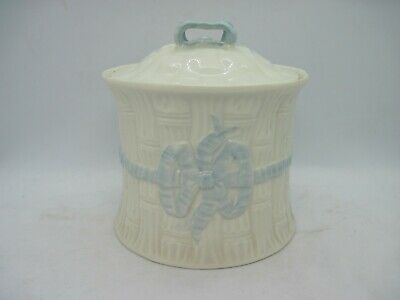 Belleek Biscuit Barrel Light Blue Ribbons And Bows Lidded Pot • 14.99£