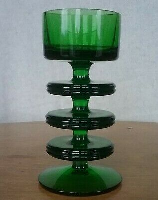 Wedgwood Emerald Green 1970's Glass 3 Disc Sheringham Candlestick  • 30£