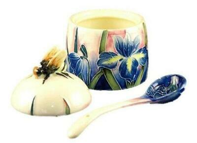 Old Tupton Ware Tube Lined Honey Pot With Spoon Blue Iris Design Boxed • 18.99£