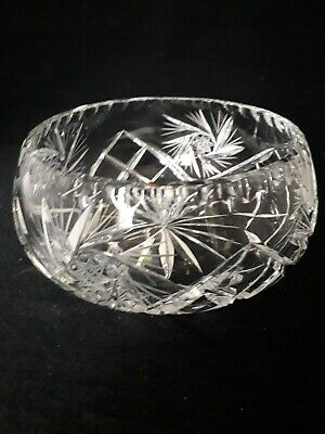Vintage Heavy Lead Crystal Cut Glass Bowl 1.2kg (9c) • 7.99£