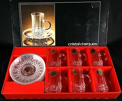 Boxed Vintage Lead Crystal French Tea Set - 6 Cups And Saucers Coffee Tea Etc • 30£