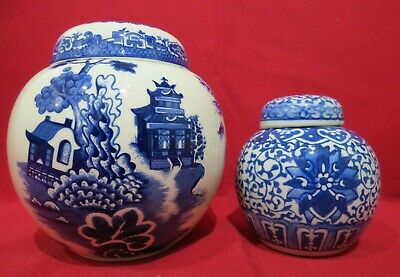 Vintage Burgess & Leigh  Willow  Ginger Jar For Twining & Co With Smaller Jar • 8£