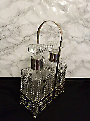 Vintage Set Of 2 Square Glass Spirit Decanters In Chrome Stand Heavy • 15£