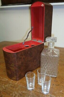 Novelty Vintage Book Decanter With 3 Glasses • 10£