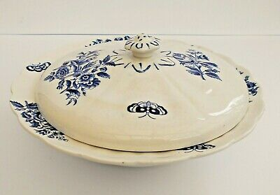 Vintage Booths Blue And White  Peony  Lidded Vegetable Serving Dish. • 14.99£