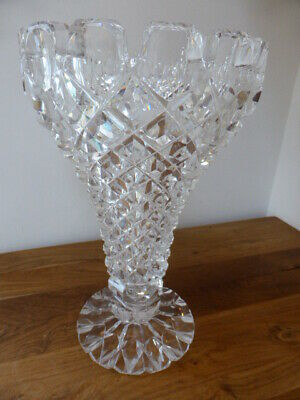 Rare Signed Antique John Walsh, Walsh Glass Crystal Vase, 26cm Tall, Quality Vgc • 29.99£