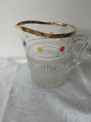 Vintage Retro Glass Spotted Water Jug Pitcher 50s 60s Mid Century Spots Heavy • 8.50£