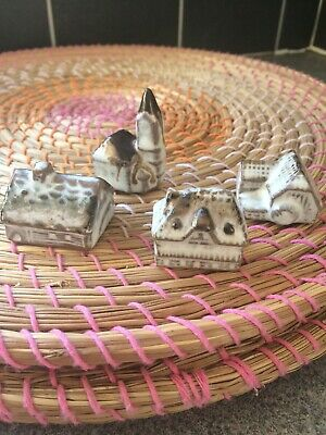Collection 4 Miniature Ceramic Model Village Houses Ornaments And  Church • 5.25£