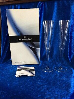 Dartington 24% Lead Crystal Pair Of Celebration Champagne Flutes • 16.95£