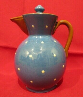 Watcombe Torquay Pottery Teapot - Blue With White Dots - Vgc • 5.50£