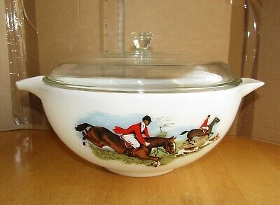 Large JAJ Pyrex Hunting Scene Tally Ho Cinderella Bowl With Lid Excellent 1960's • 14.99£