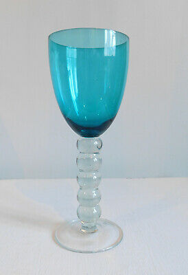 Large Aqua Blue Clear Bubble Stem Water Wine Goblet Drinking Glass • 4.99£