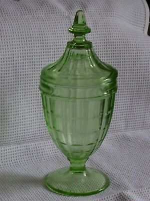 Vintage Green Glass: Tall Pot With Lid – Very Pretty!   Excellent Condition! • 16.99£